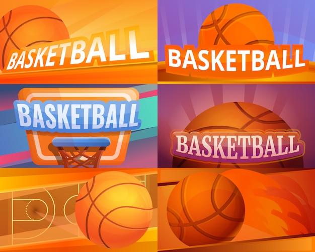 Basketballillustration eingestellt auf karikaturart Premium Vektoren