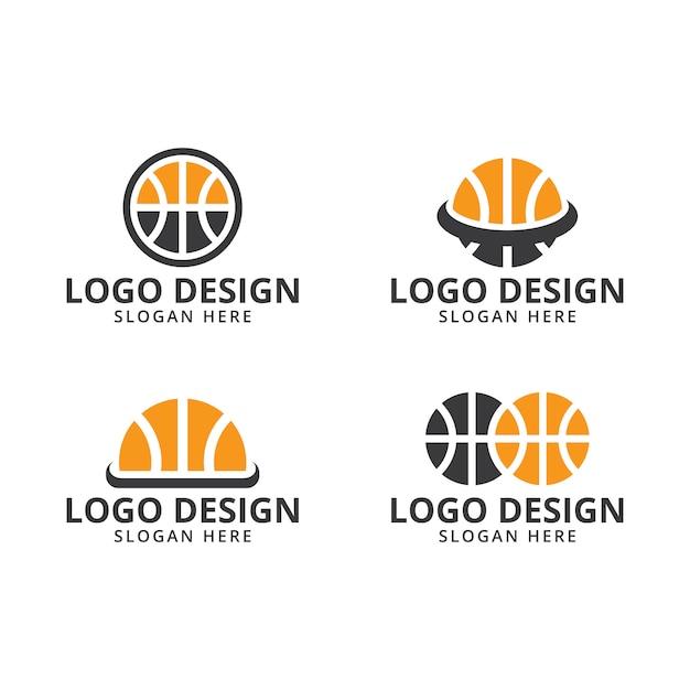 Basketballlogo-designschablonenvektor auf satz Premium Vektoren