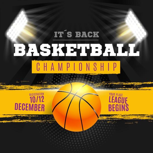 Basketballplakat mit stadionlichtern Kostenlosen Vektoren