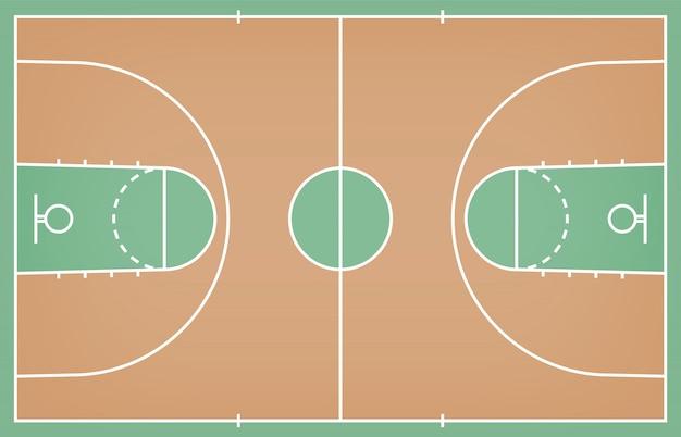 Basketballplatzboden mit linie auf hölzernem beschaffenheitshintergrund Premium Vektoren