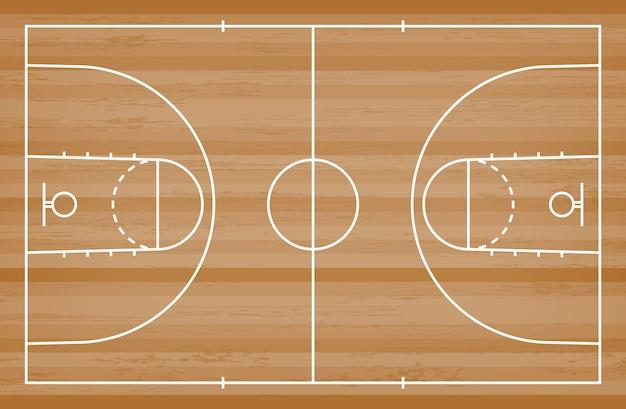 Basketballplatzboden mit linie muster auf hölzernem hintergrund. Premium Vektoren