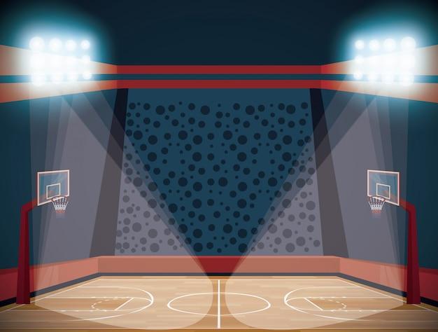 Basketballplatzstadions-landschaftskarikatur Kostenlosen Vektoren