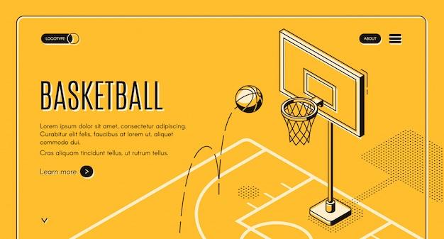 Basketballteam, schwarze linie kunstwebsiteschablone des sportvereins mit ball Kostenlosen Vektoren