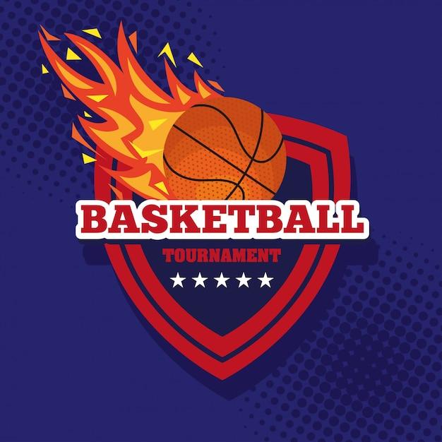 Basketballturnier, emblem, design mit basketballball, flamme mit ball und schild Premium Vektoren