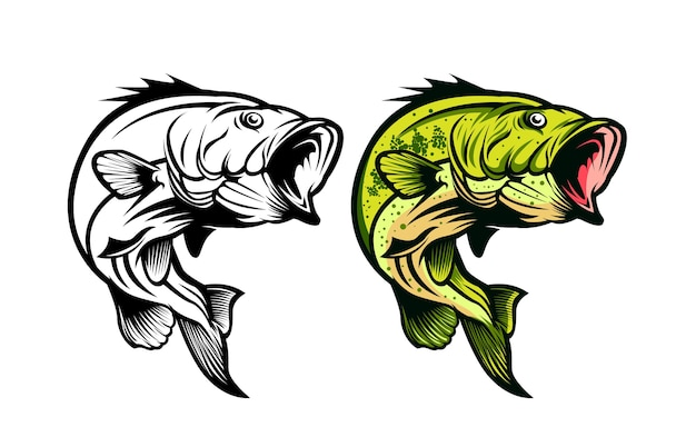 Bass fisch-angeln vektor-illustration Premium Vektoren