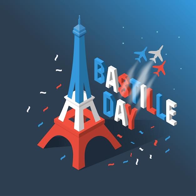 Bastille-tag, unabhängigkeitstag von frankreich, symbole. Premium Vektoren