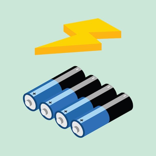 Batery isometric icon - vetorial Premium Vektoren