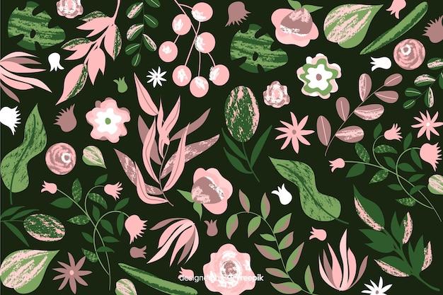 Batikdesign für handgemalten blumenhintergrund Kostenlosen Vektoren
