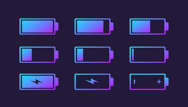 Batterieladeanzeige logo sammlung Premium Vektoren
