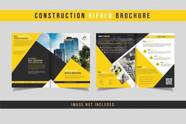 Bau bifold broschüre design Premium Vektoren