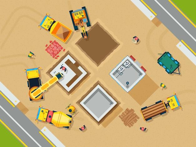Bau-draufsicht-illustration Kostenlosen Vektoren