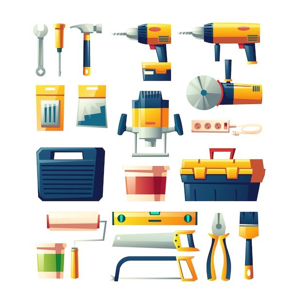 Bau elektrisch, flacher vektorsatz der handwerkzeuge Kostenlosen Vektoren