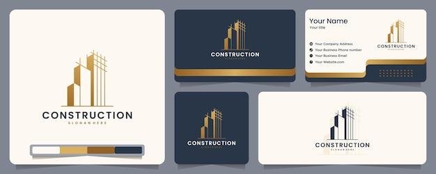 Bau, erbauer, gebäude, goldfarbe, banner und visitenkarte, logo-design-inspiration Premium Vektoren