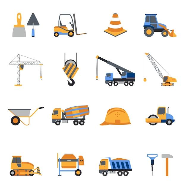 Bau icons set Kostenlosen Vektoren