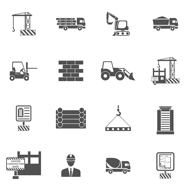 Bau-ikonen flach Kostenlosen Vektoren