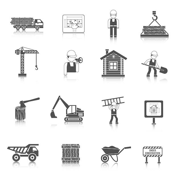 Bau-ikonen schwarz Premium Vektoren