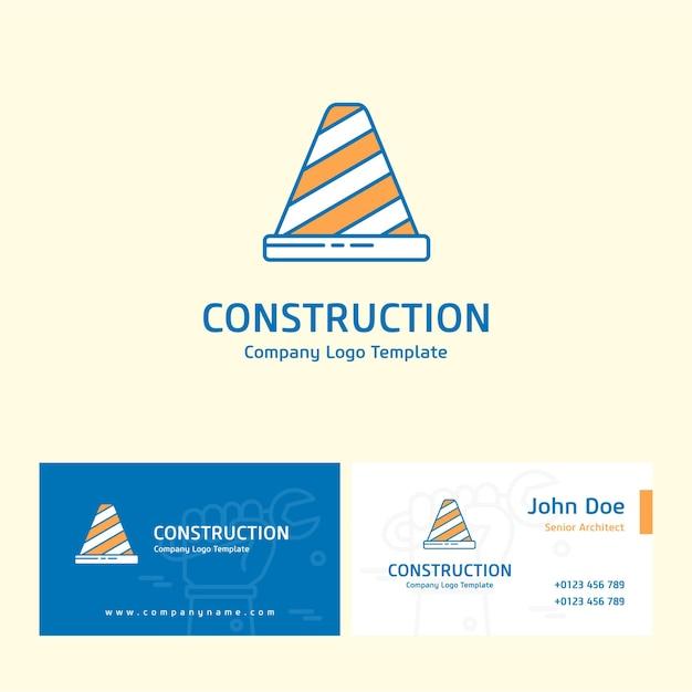 Bau logo und visitenkarte design Premium Vektoren