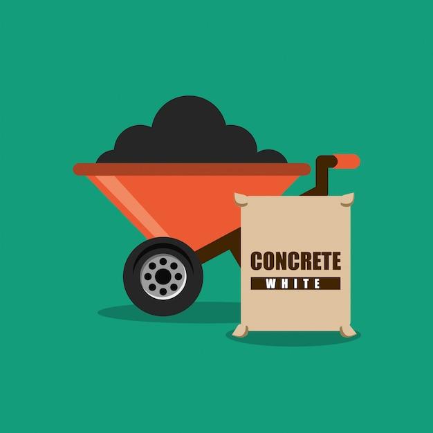 Bau schubkarre und sack beton Premium Vektoren