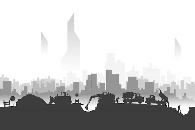 Bau silhouetten in der stadt Premium Vektoren