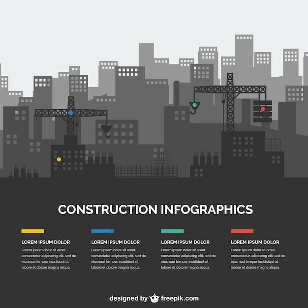 Bau silhouetten infographie Kostenlosen Vektoren