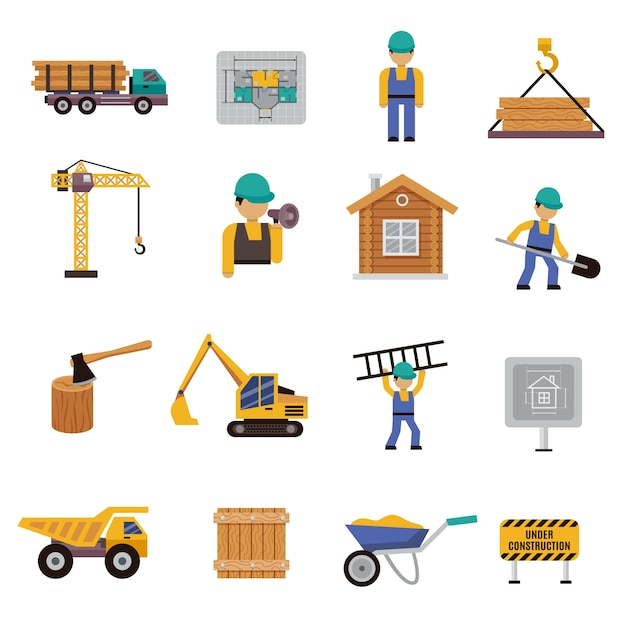 Bau Symbol flach Kostenlose Vektoren