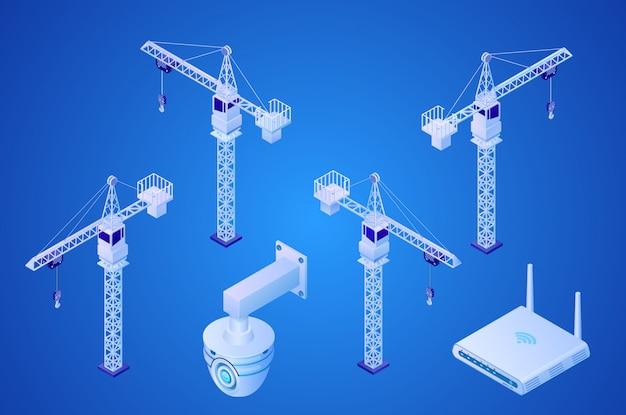 Bau-turmkran, sicherheitsüberwachung Premium Vektoren