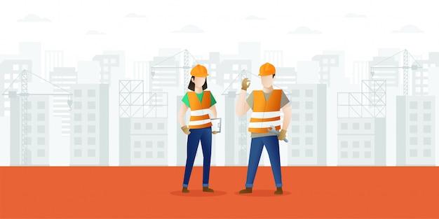 Bau- und bauindustriekarikaturhintergrund Premium Vektoren