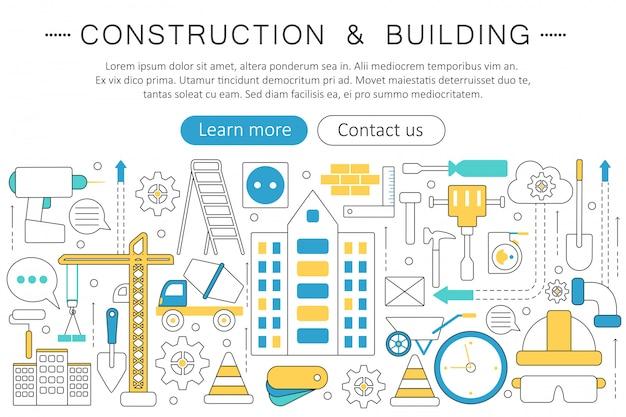 Bau- und bauwerkzeugkonzept Premium Vektoren