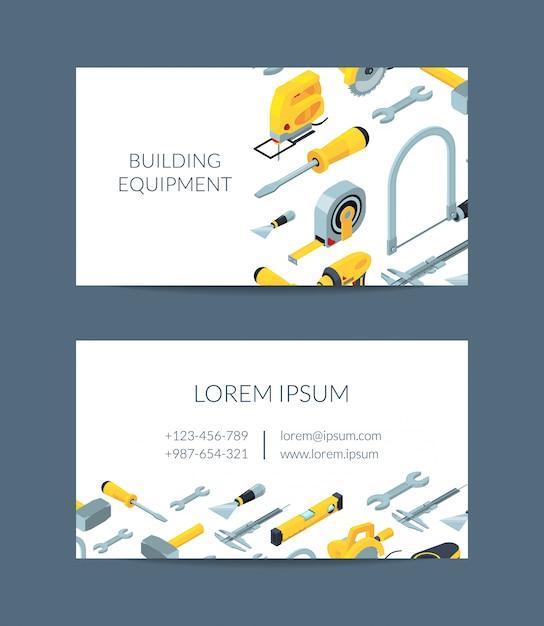 Bau Werkzeuge Isometrische Symbole Visitenkarte Für Baumarkt