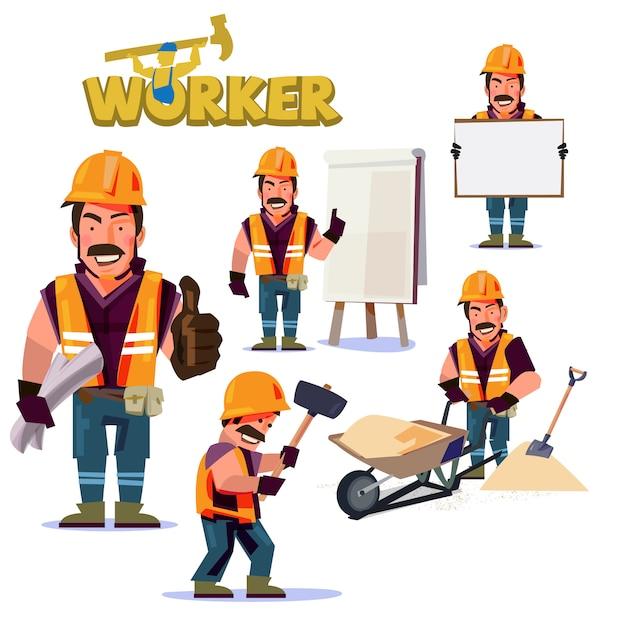 Bauarbeit charakter Premium Vektoren