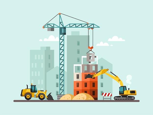 Bauarbeiten mit häusern und baumaschinen. Premium Vektoren