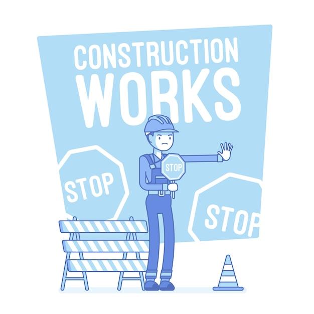 Bauarbeiten stoppen illustration Premium Vektoren