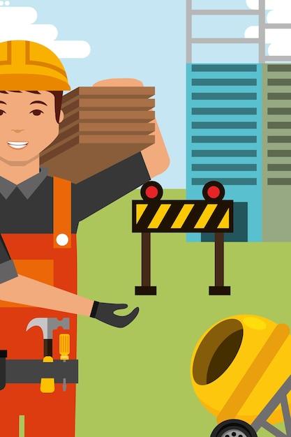 Bauarbeiter charakter und betonmischer barriere-ausrüstung Premium Vektoren