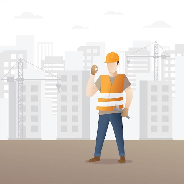 Bauarbeiter, der schlüssel hält Premium Vektoren
