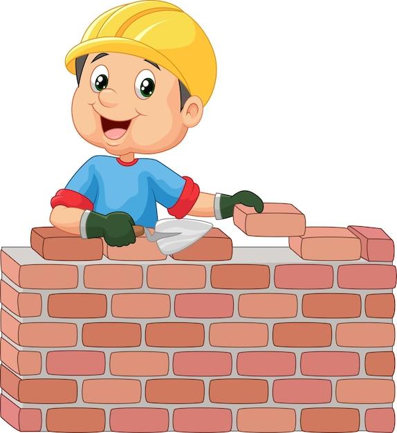 Bauarbeiter, der ziegelsteine legt Premium Vektoren