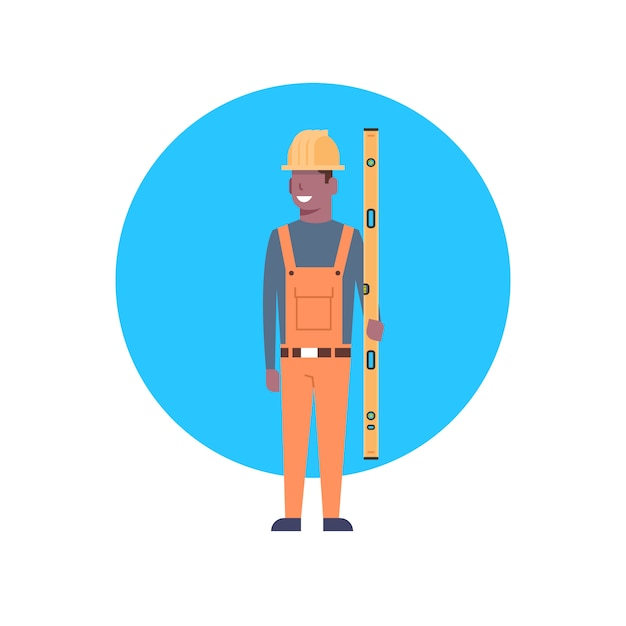 Bauarbeiter-ikonen-afroamerikaner-erbauer man wearing helmet Premium Vektoren