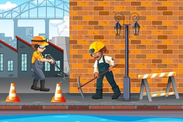 Bauarbeiter in der stadt Kostenlosen Vektoren