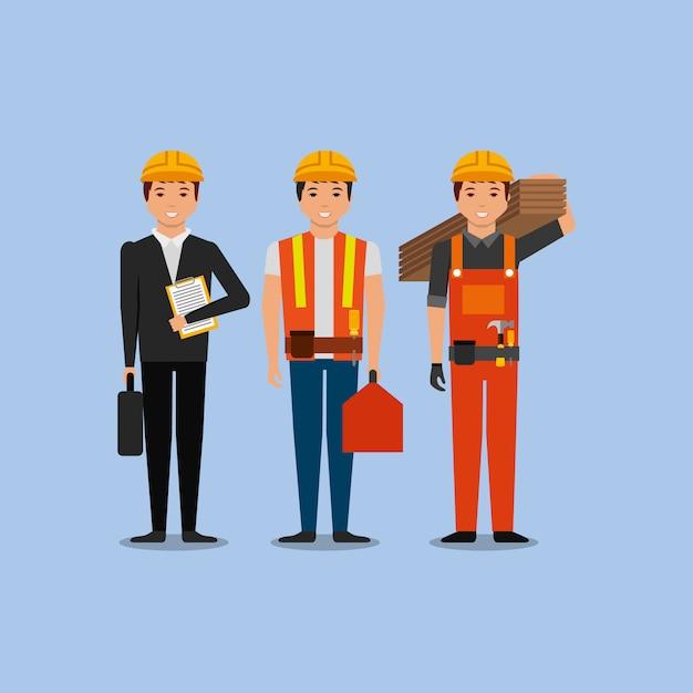Bauarbeiter ingenieur vorarbeiter mitarbeiter Premium Vektoren