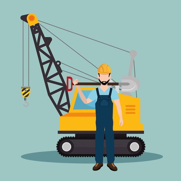 Bauarbeiter mit im bau ikonen Premium Vektoren
