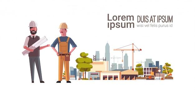 Bauarbeiter über baustelle Premium Vektoren