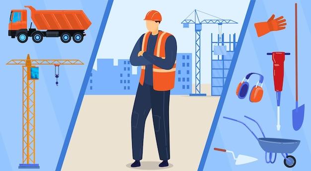 Bauarbeitercharakter, baumeister im helm mit professioneller ausrüstungsillustration. Premium Vektoren
