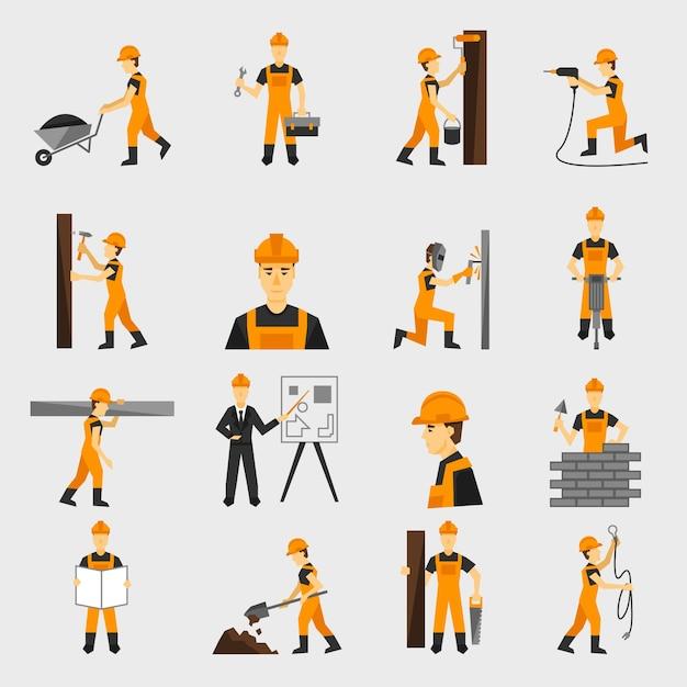Bauarbeiterikonen flach Kostenlose Vektoren