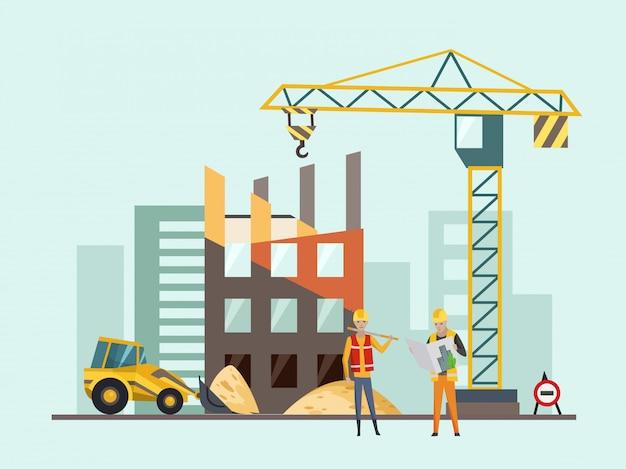 Bauarbeitsprozess mit häusern und baumaschinen Premium Vektoren