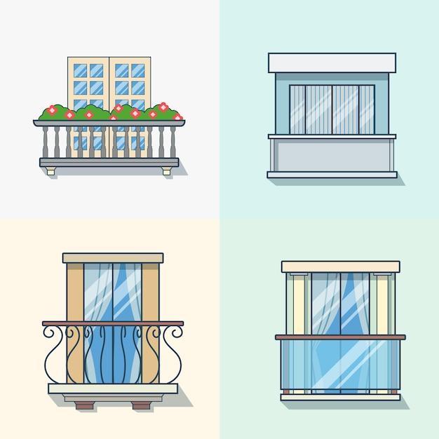 Bauelementsatz der linearen umrissarchitektur des balkons. flache stilikonen mit linearem strichumriss. farbsymbolsammlung. Kostenlosen Vektoren