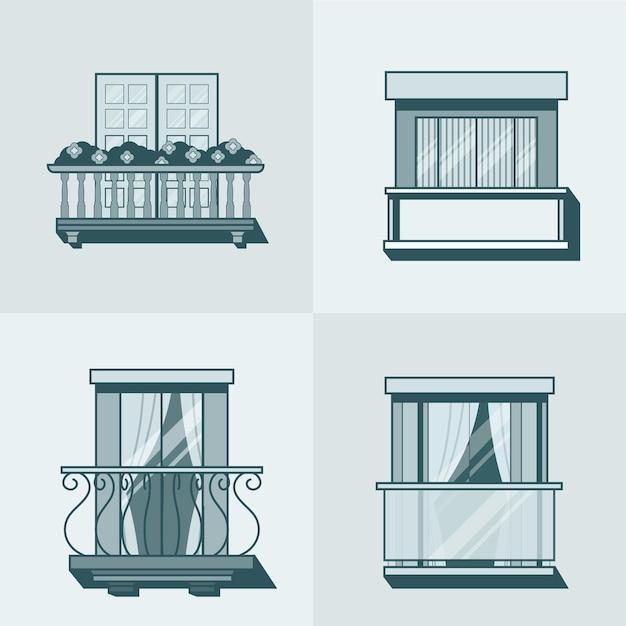 Bauelementsatz der linearen umrissarchitektur des balkons. lineare strichumriss-symbole. Kostenlosen Vektoren