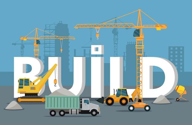 Bauen sie banner-konzept im flat style modern building Premium Vektoren