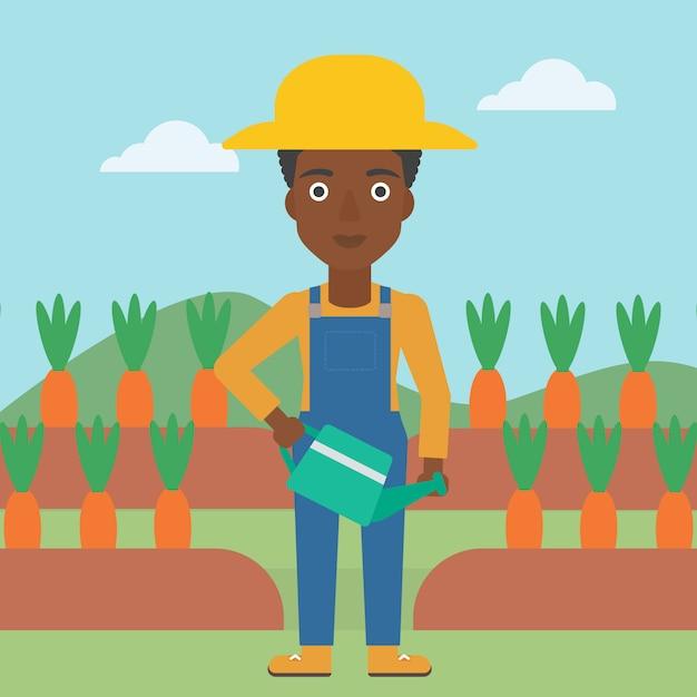 Bauer mit gießkanne Premium Vektoren