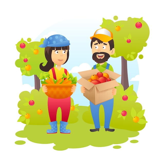 Bauern im garten Kostenlosen Vektoren