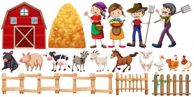 Bauern und nutztiere Premium Vektoren