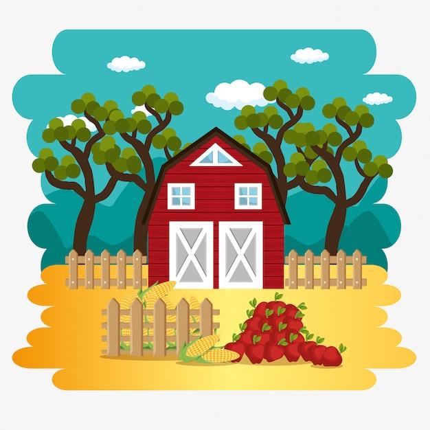 Bauernhaus in der bauernhofszene Kostenlosen Vektoren